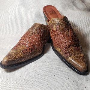 Tony lama brown decorative heeled mules